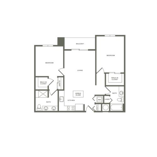 1061 square foot two bedroom two bath recessed balcony apartment floorplan image