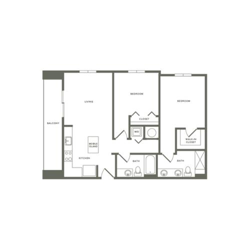 1032 square foot two bedroom two bath apartment floorplan image