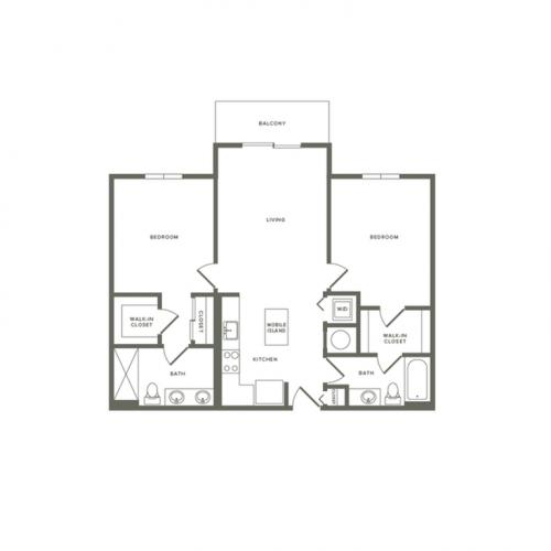 1061 square foot two bedroom two bath balcony apartment floorplan image