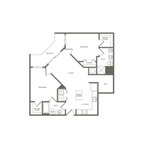 1106 square foot two bedroom two bath with den apartment floorplan image