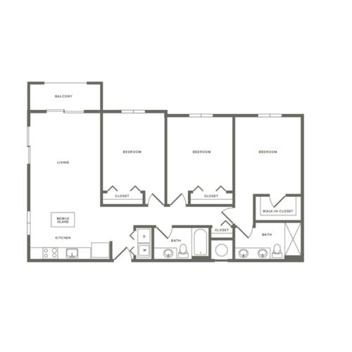 1350 square foot three bedroom two bath kitchen and living room to right of entrance apartment floorplan image