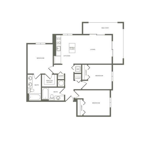 1176 square foot three bedroom two bath apartment floorplan image