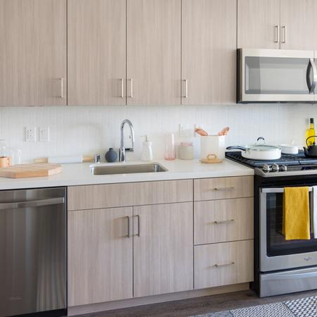 Gally kitchens with stainless steel appliances and custom cabinetry