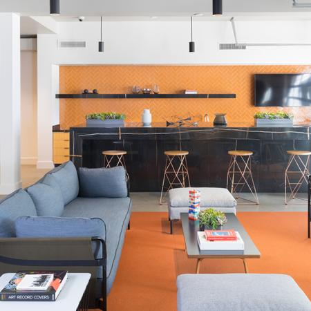 Resident lounge with social seating options for work or play