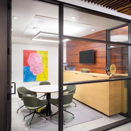 Glass Enclosed Conference Room by leasing office