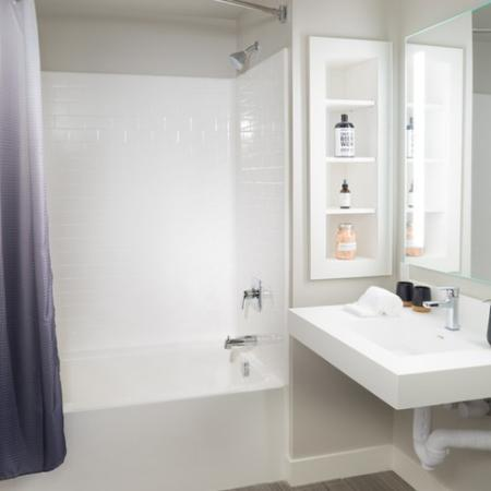 Bathroom with built in shelving