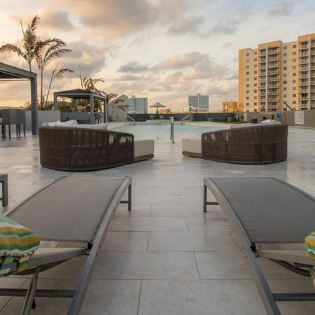 Chaise Lounges and Day Beds on Roof Top Pool Deck