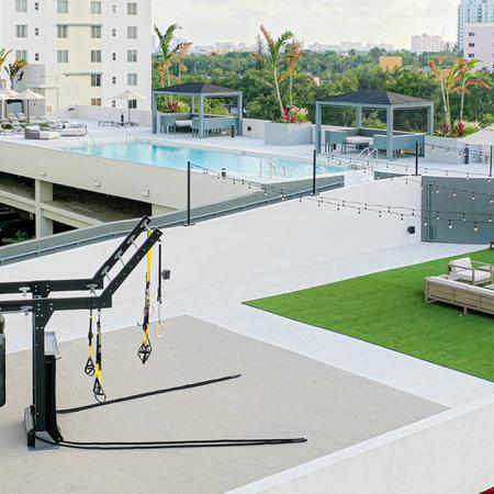 Outdoor Sky Deck with GymRax, Pool and Lawn