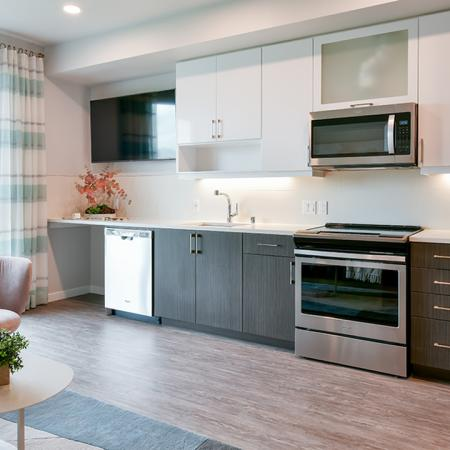 Galley kitchens with stainless steel appliances and wood plank flooring