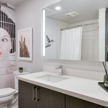 Large bathrooms with ample storage space