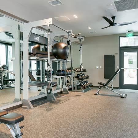 Free weights, slam balls, and weight stations