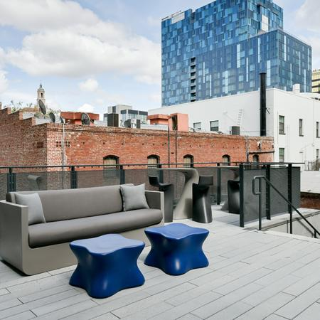 Outdoor lounge with downtown San Jose views