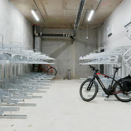 Bike friendly with onsite bicycle storage and repair station