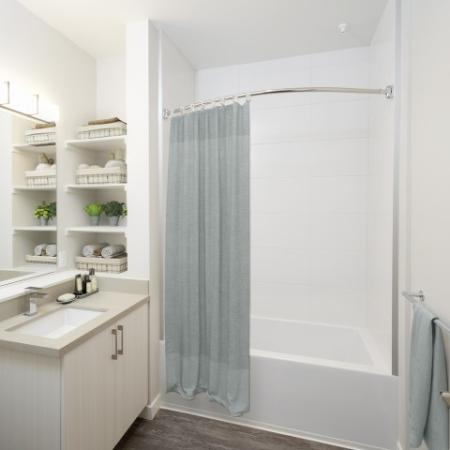 Bathroom with built in storage and curved shower rod