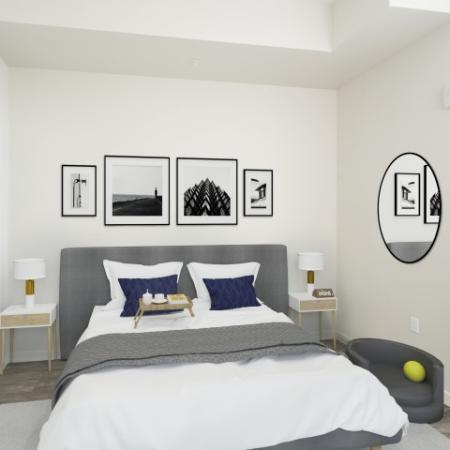 Spacious bedroom with queen sized bed with white sheets and has a dog bed in the corner