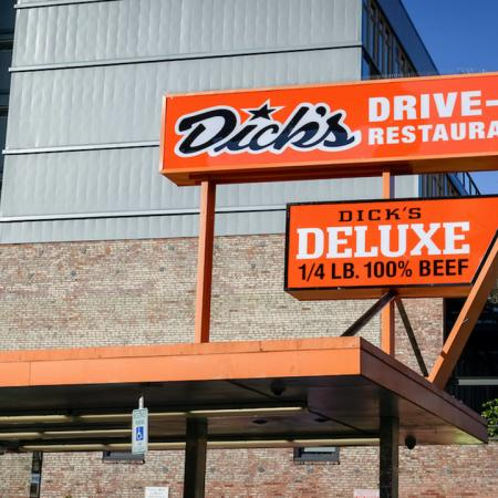 Exterior of local establishment, Dick's Drive In Restaurant,  near Modera Broadway apartments in Seattle.