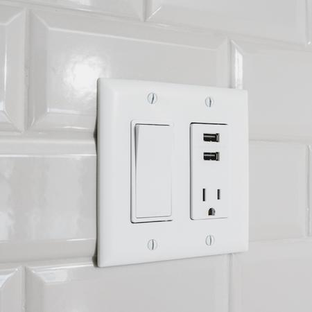 Wall outlet with switch and USB plug ins