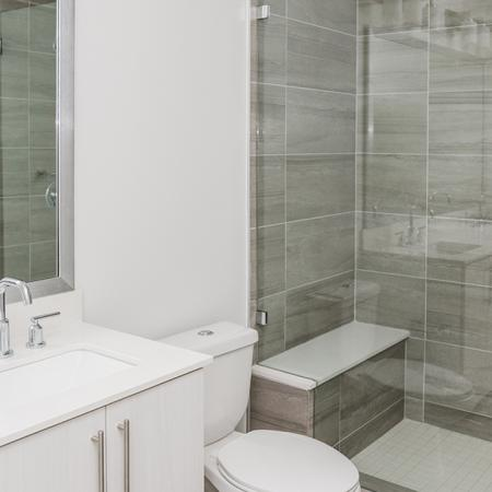 Walk-in showers with bench seating