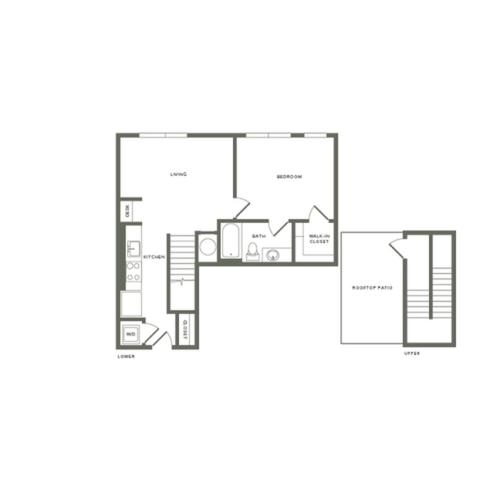 775 square foot one bedroom one bath with rooftop patio apartment floorplan image