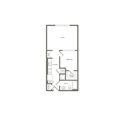 684 square foot one bedroom one bath apartment floorplan image