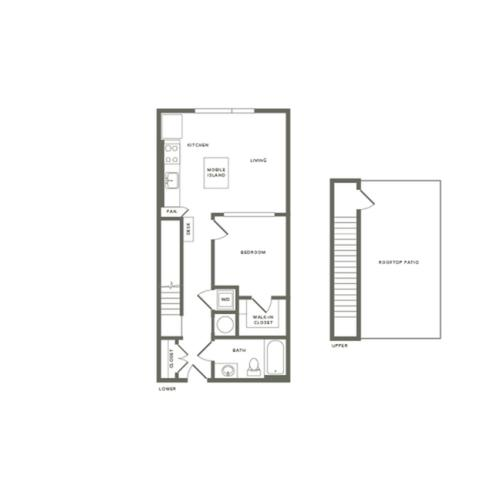 721 square foot one bedroom one bath with rooftop patio apartment floorplan image