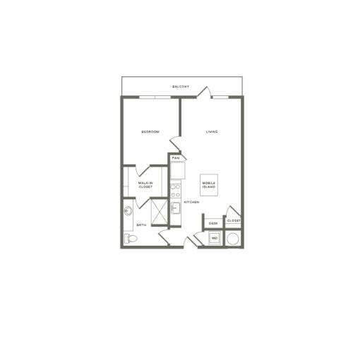 720 square foot one bedroom one bath apartment floorplan image