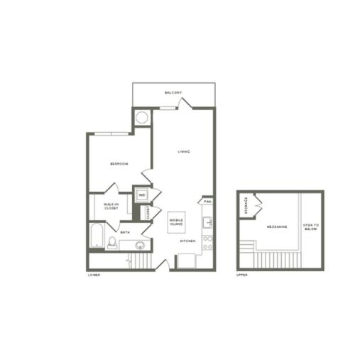 899 square foot one bedroom one bath with mezzanine apartment floorplan image