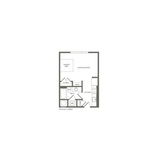482 square foot studio one bath apartment floor plan image