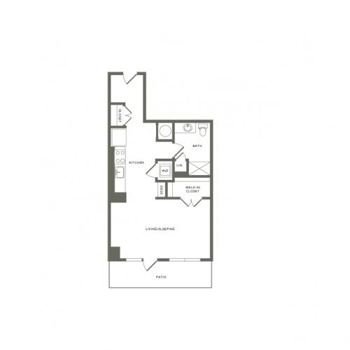 602 square foot studio one bath apartment floor plan image
