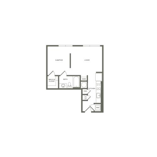 597 square foot studio one bath apartment floor plan image