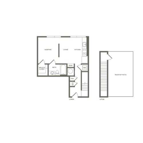640 square foot studio one bath loft apartment floor plan image