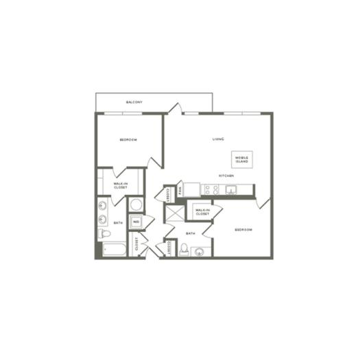 1073 to 1081 square foot two bedroom two bath apartment floorplan image