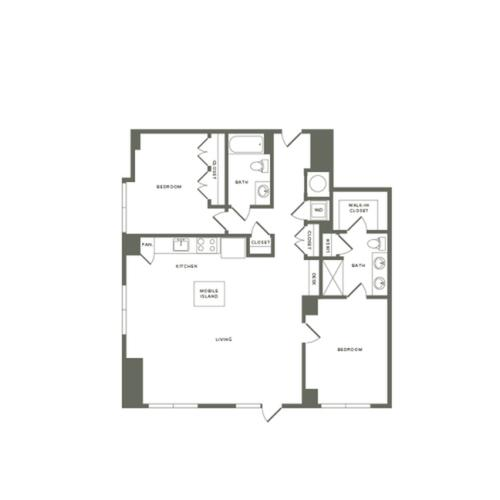 1246 square foot two bedroom two bath apartment floorplan image