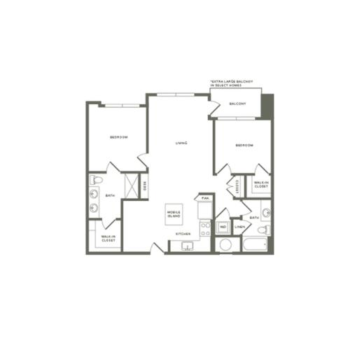 1063 to 1148 square foot two bedroom two bath apartment floorplan image