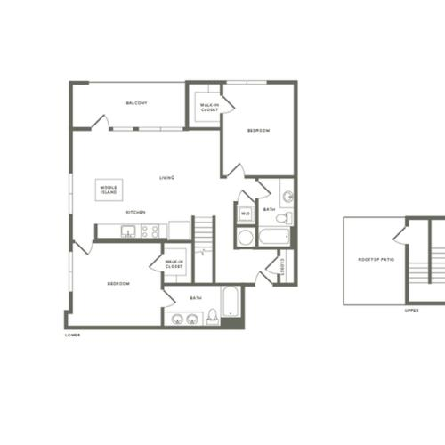 1279 square foot two bedroom two bath with rooftop patio apartment floorplan image