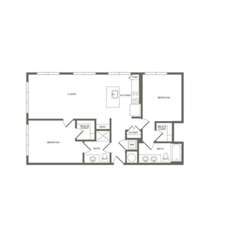 1120 square foot two bedroom two bath apartment floorplan image