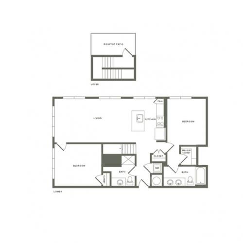 1184 square foot two bedroom two bath with rooftop patio apartment floorplan image