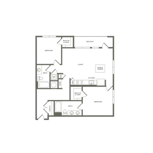 1212 square foot two bedroom two bath apartment floorplan image