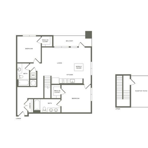 1282 square foot two bedroom two bath with rooftop patio apartment floorplan image