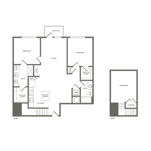 1481 square foot two bedroom two bath with mezzanine apartment floorplan image