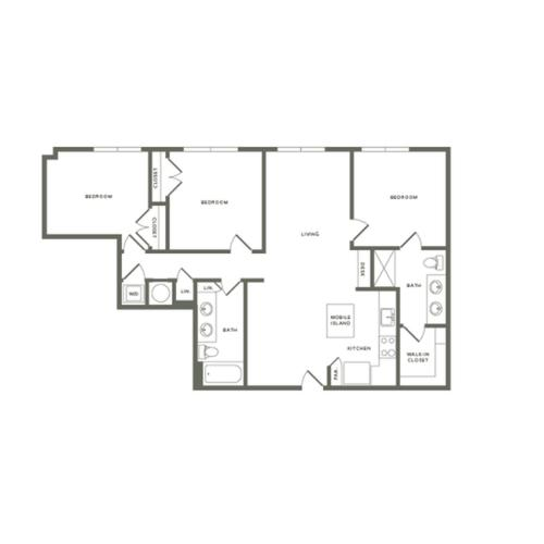 1338 square foot three bedroom two bath apartment floorplan image