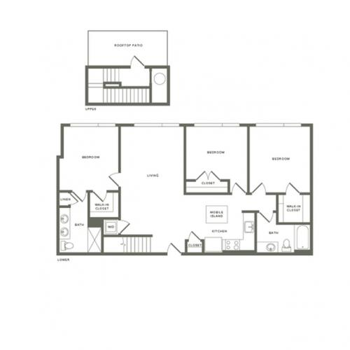 1407 square foot three bedroom two bath with rooftop patio apartment floorplan image