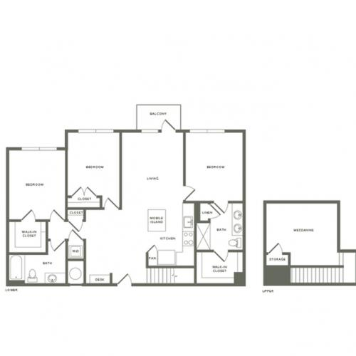 1577 to 1593 square foot three bedroom two bath with mezzanine apartment floorplan image