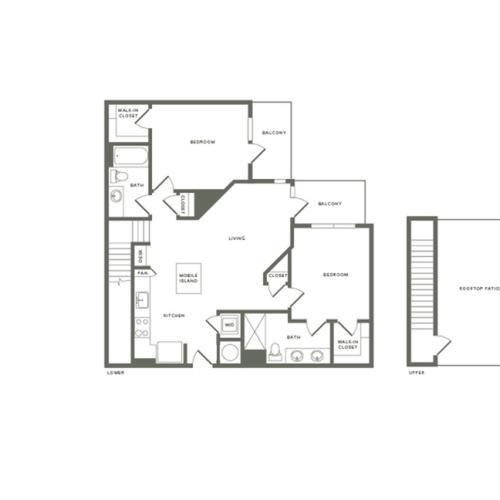 1145 square foot two bedroom two bath with rooftop patio apartment floorplan image