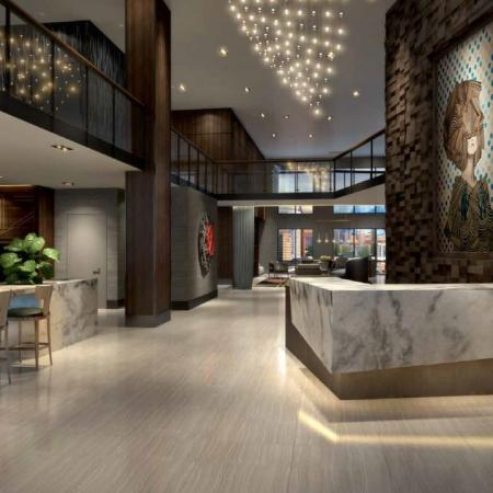 Rendering of interior of luxurious leasing office
