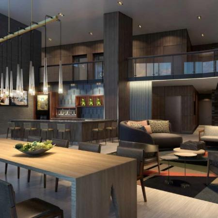 Rendering of upscale resident lounge featuring social seating and exclusive design features