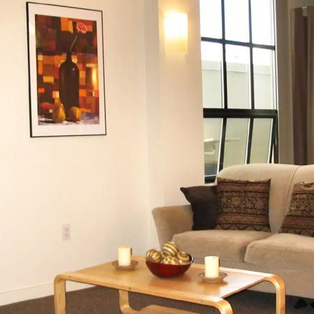 Living room at Bachenheimer Apartments