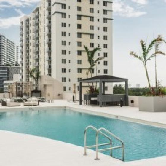 Modera Skylar, exxterior, palms, high rise white building