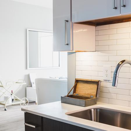 Upgraded apartment kitchen at Modera Skylar