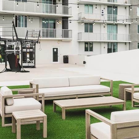 Outdoor terrace with lounge area and GymRax